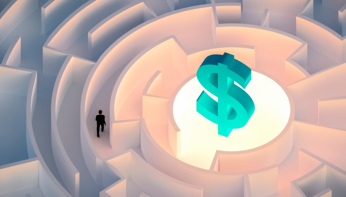 Man walking in a maze with money symbol at center