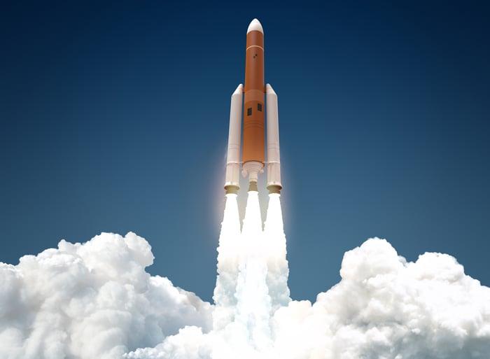 Rocket blasting off