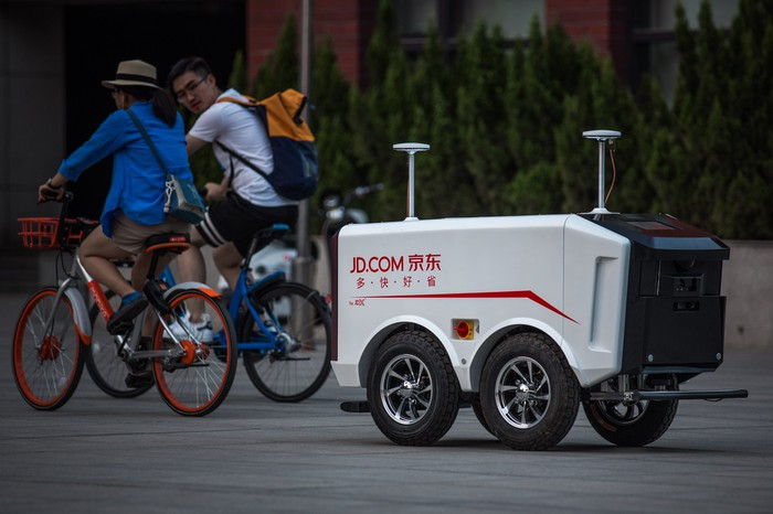 A JD.com delivery robot on the streets of China.