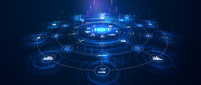 The letters IOT in the center of a circle, with dotted lines radiating out toward icons that represent different devices.