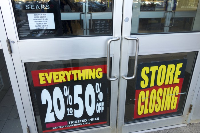 A store has a store closing sign on it.