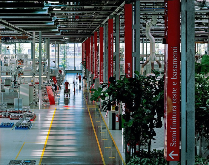 The floor of Ferrari's engine factory in Maranello, Italy.