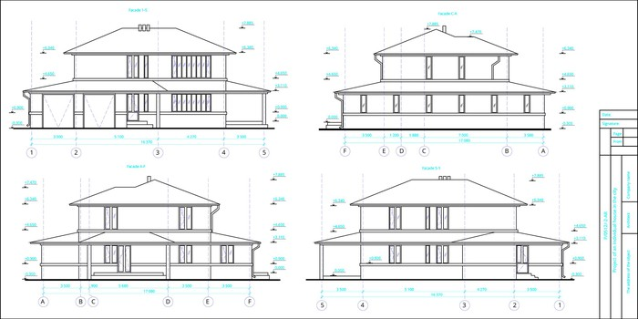 Schematic of a home shown from four different sides.