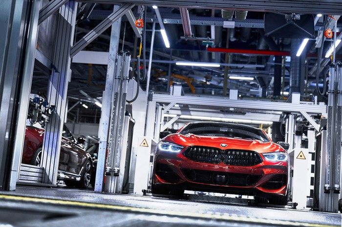 A BMW 8 Series undergoes inspection at the company's factory in Dingolfing, Germany.