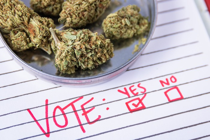 Bowl of marijuana atop a handwritten paper ballot.