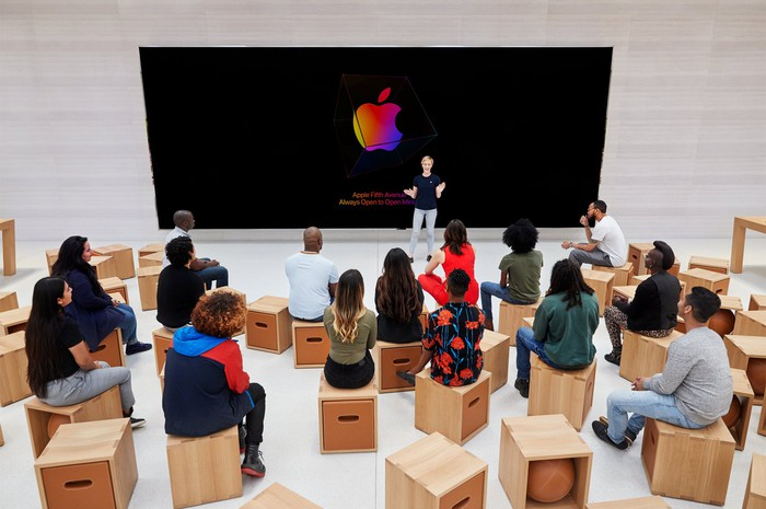 A Forum at Apple's 5th Avenue store in NYC.