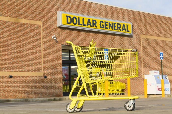 Dollar General exterior with a shopping cart.