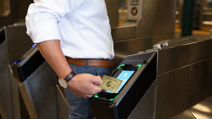 American Express contactless subway payment.