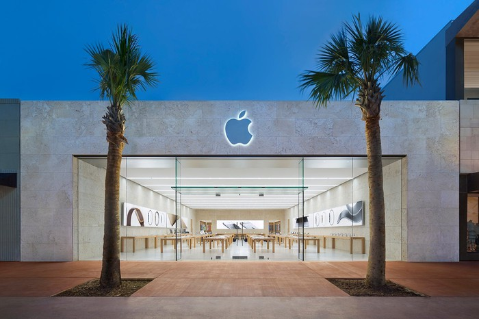 The outside of an Apple Store location in Miami Beach, Florida.