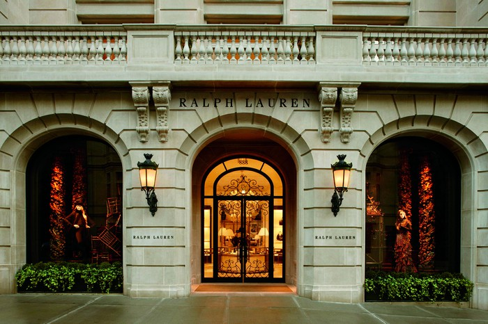 The entrance to Ralph Lauren's store on Madison Avenue in New York.
