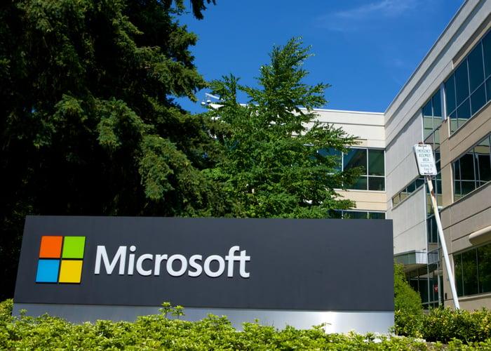 A Microsoft logo on its campus