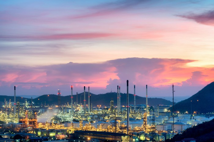 An oil refinery at twilight.