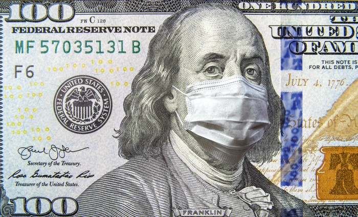 a portion of a $100 bill is shown with Ben Franklin's image in the bill wearing a surgical mask