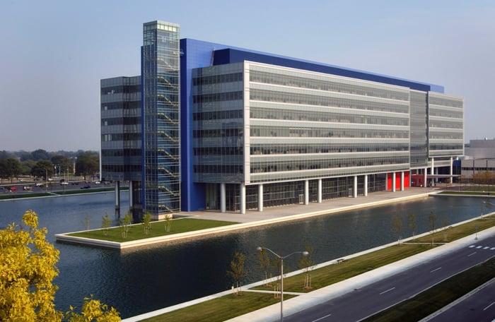 GM's landmark technical center campus in Warren, Michigan.