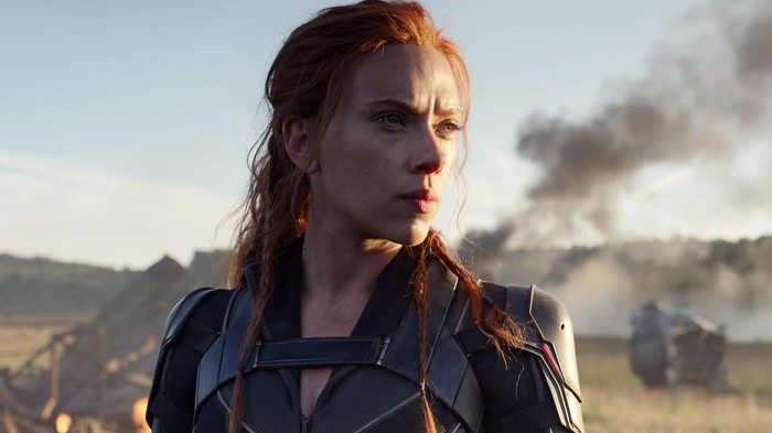 The main character in a scene from the Black Widow movie.