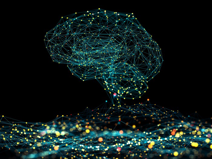 Artificial intelligence depicted as an abstract picture of a brain.
