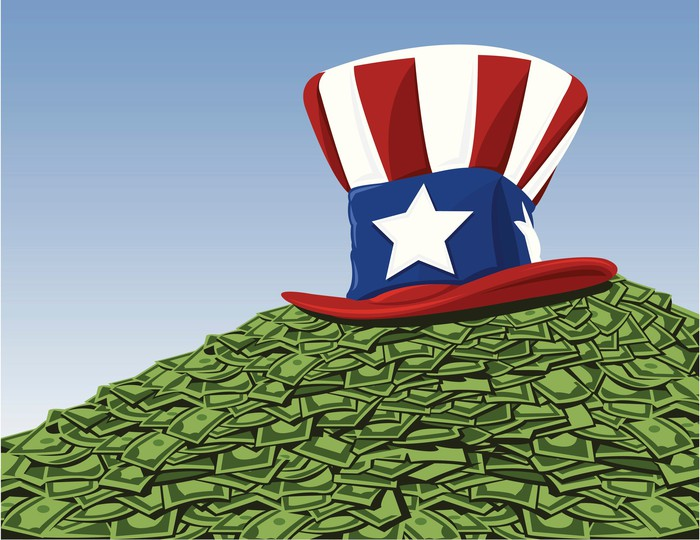 Uncle Sam hat on top of cash pile representing government money