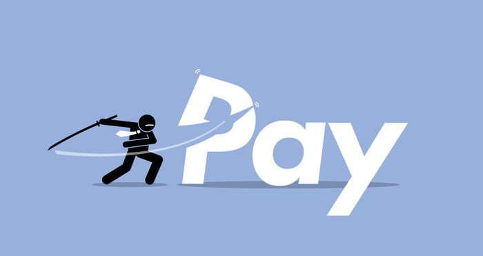 "Graphically drawn character slashing the word ""pay"" with a sword"