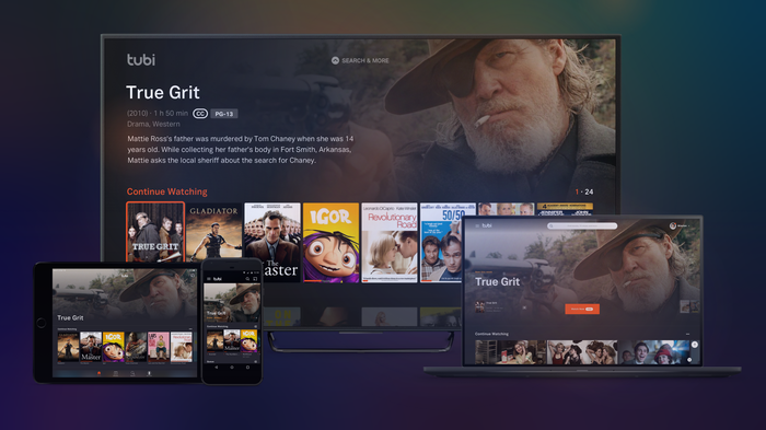 The Tubi home screen showing a variety of streaming options, featuring the movie True Grit.
