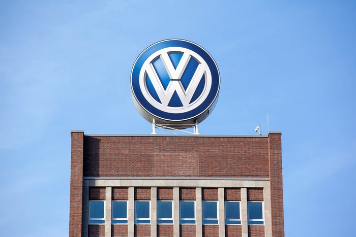 The VW logo on the roof of Volkswagen's corporate headquarters in Wolfsburg, Germany