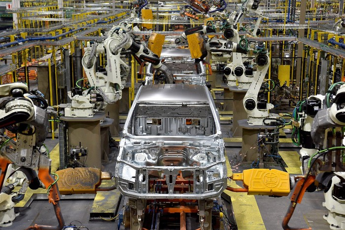 Frames for Ford Ranger pickups move down the assembly line at Ford's Michigan Assembly Plant near Detroit.