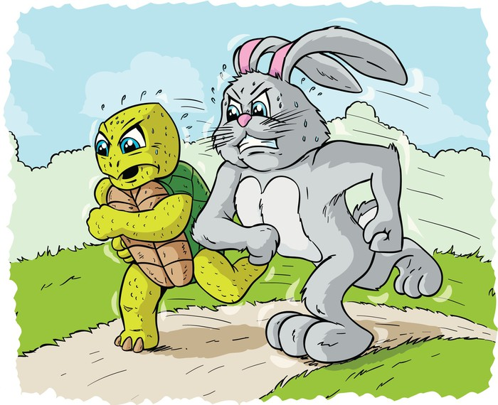 Cartoon of a rabbit and a tortoise in a race