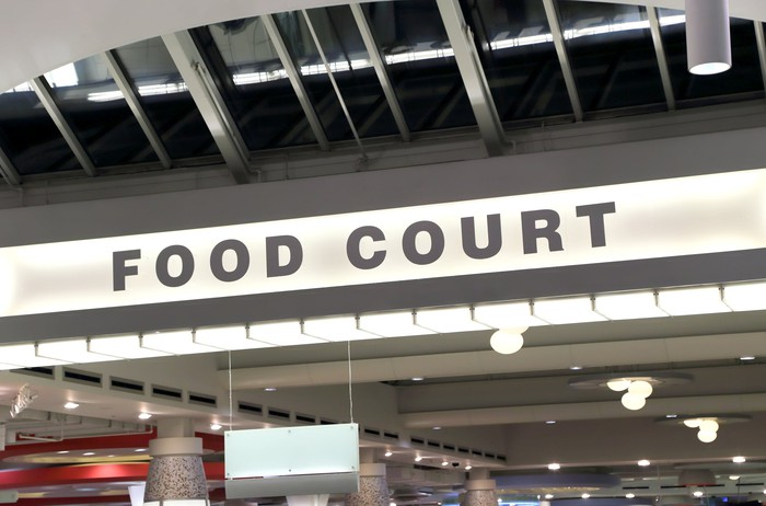 A mall food court.