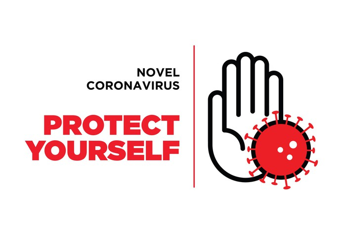 A hand blocking a virus with a note that says Novel Coronavirus: Protect Yourself.