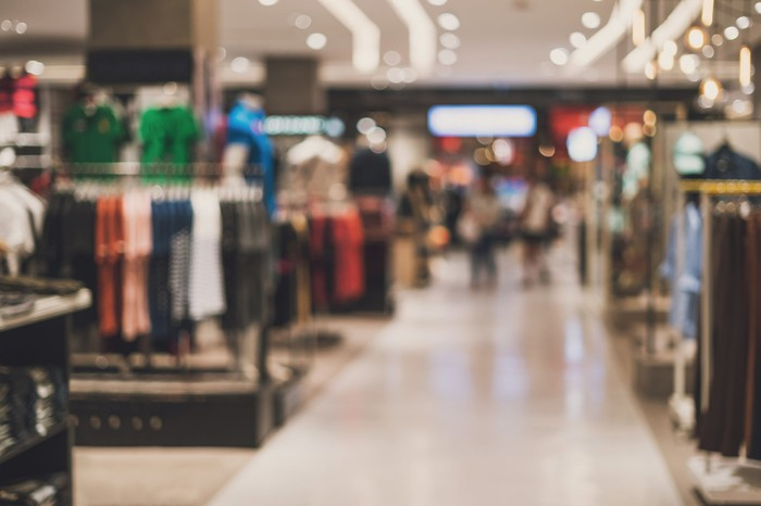 A bright, clean department store; stylistically blurred image.