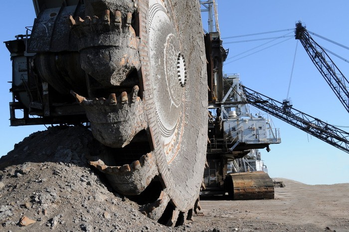 Bucketwheel reclaimer in Alberta oil sands mine.