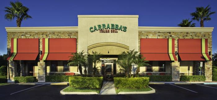 The sunlit exterior of a Carrabba's Italian Grill restaurant.