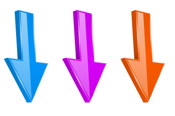 Three colorful arrows all pointing down.