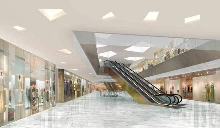Inside an empty shopping mall.