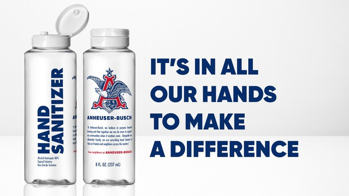 Front and back views of an Anheuser-Busch hand sanitizer bottle.