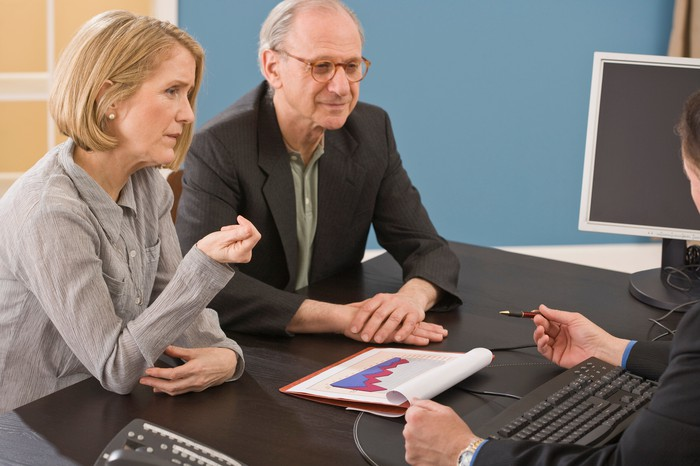 Senior couple having an investing discussion with an advisor.