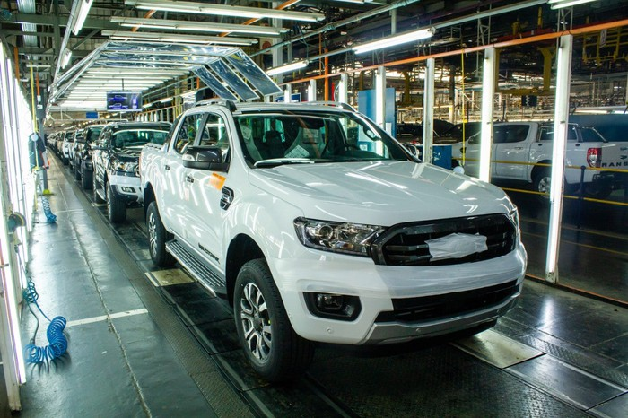 Ford Ranger pickups move down the production line at Ford's Silverton Assembly Plant in South Africa.