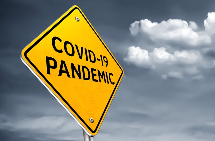 A road sign states COVID-19 pandemic.