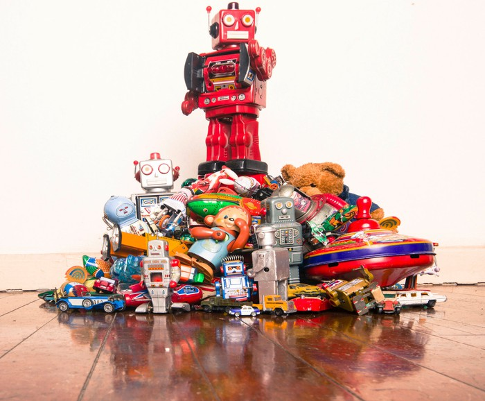 A pile of children's toys.