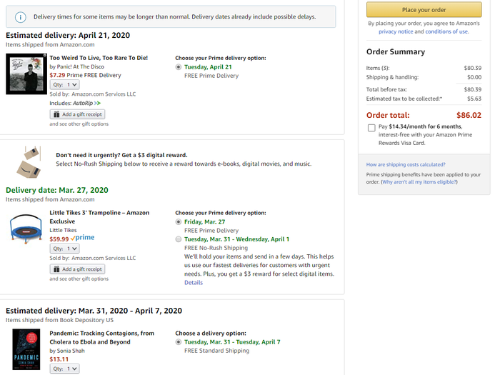 Amazon order form showing a CD, a book, and a trampoline