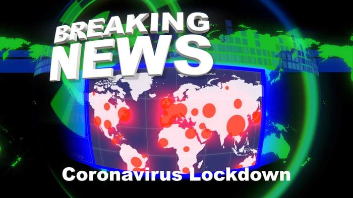 Breaking news - coronavirus lockdown with map of world showing coronavirus hotspots