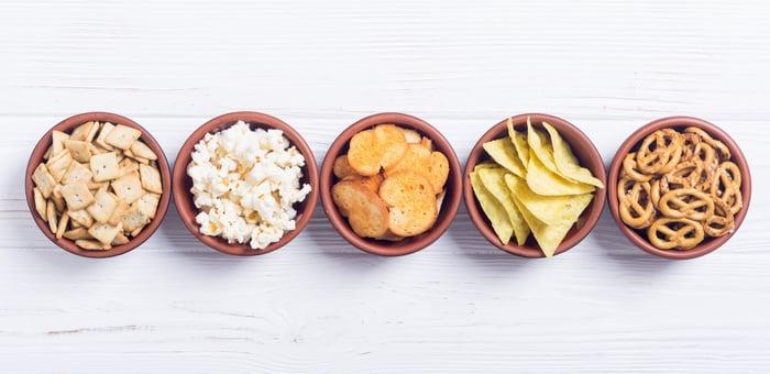 Bowls of crackers, pretzels, potato chips, and popcorn.