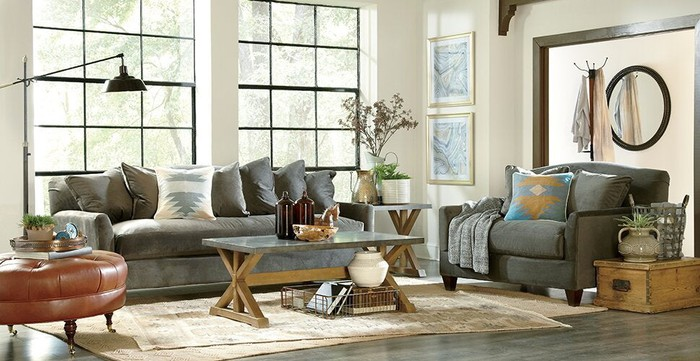 A living room mockup filled with Wayfair furniture and home goods.