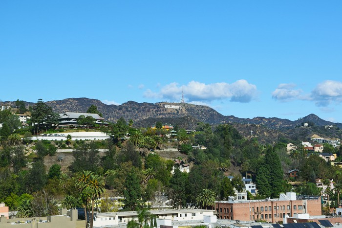 "Hollywood Hills with the ""Hollywood"" sign in the distance"