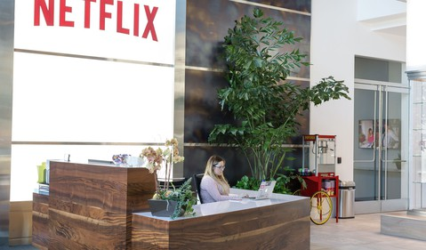 Outside Netflix's Los Gatos California headquarters