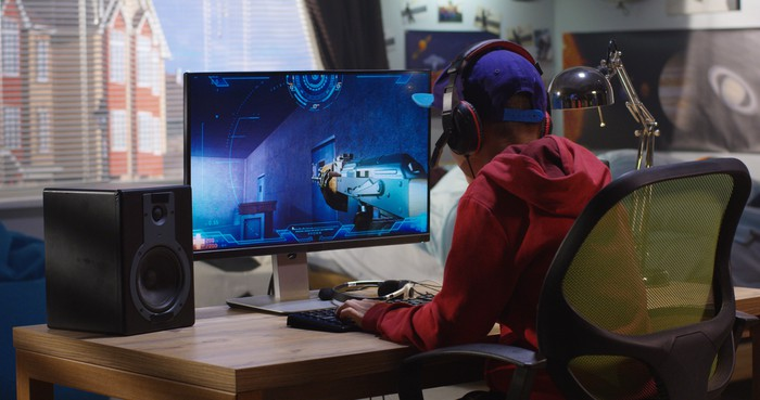 A player immersed in a video game.