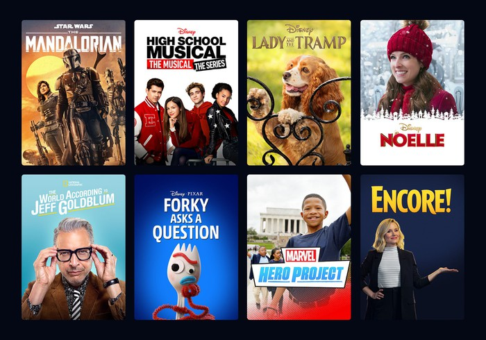 A menu showing content from Disney+