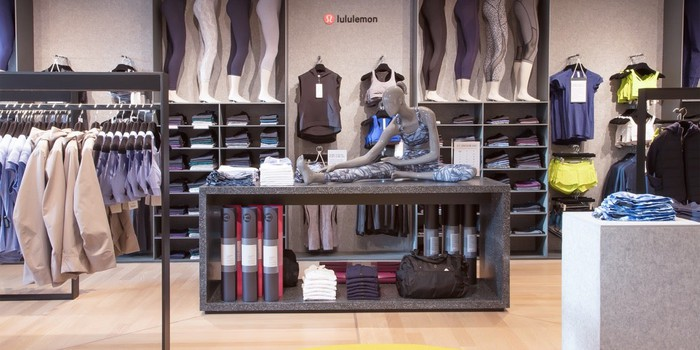 A yogawear display inside a Lululemon store.