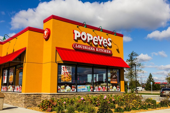 The exterior of a Popeyes Louisiana Chicken