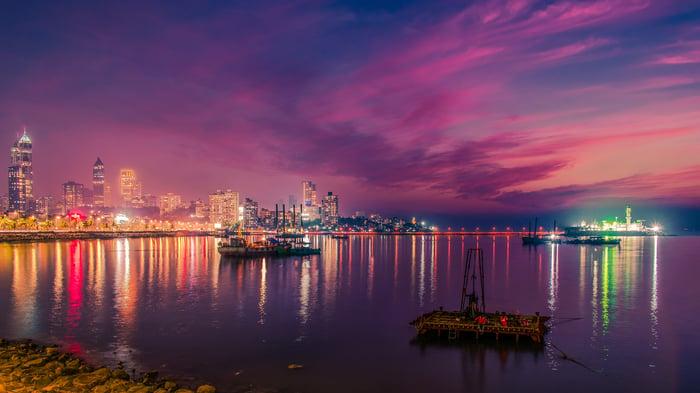 The coastline of Mumbai, one of India's largest city