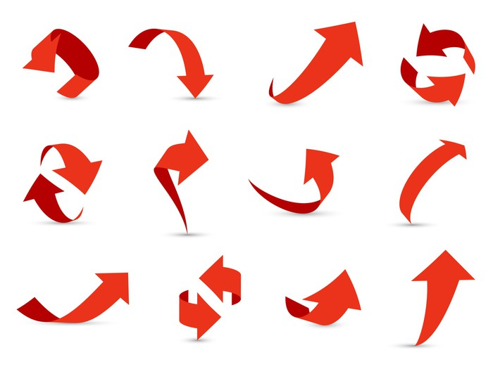 A dozen sets of arrows all pointing in different directions